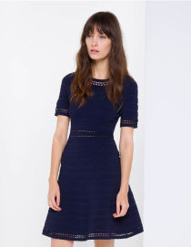 Sandro perforated blue dress